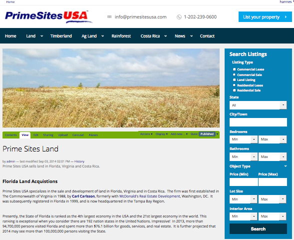 Commercial, Agricultural Land for Sale in Costa Rica, Florida, Virgina and more PrimeSitesUSA Real Estate Brokerages
